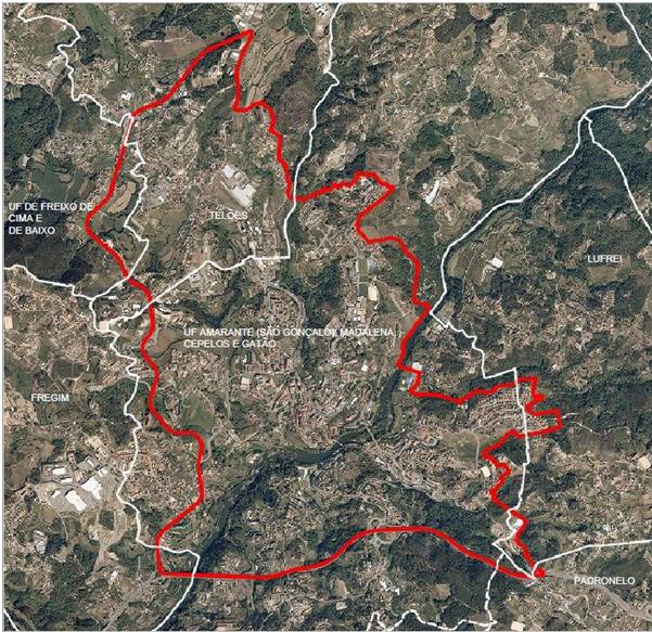 Delimitação da área de intervenção do Plano de Urbanização da Cidade de Amarante